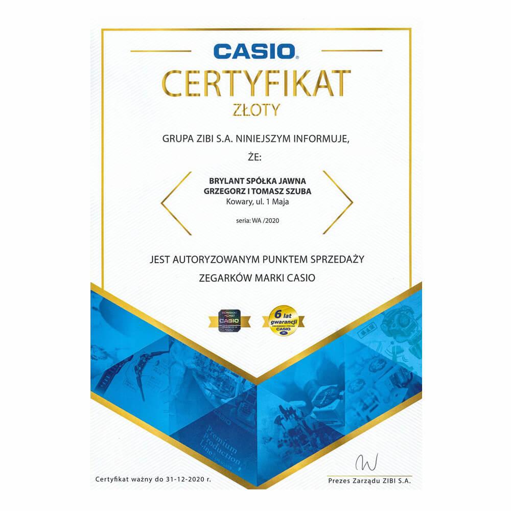 Złoty Certyfikat Casio - duże