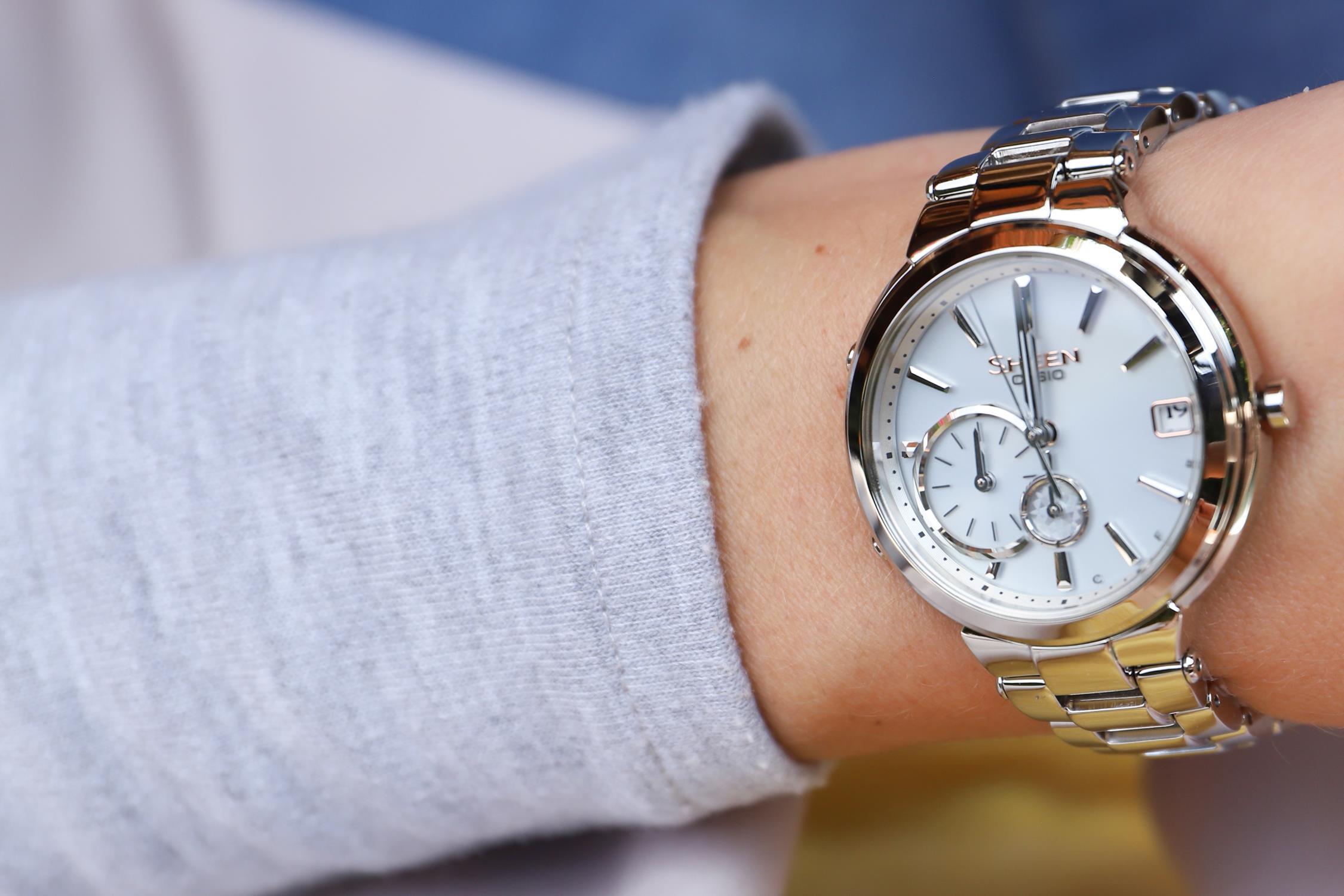 Zegarek damski Casio sheen SHB-200D-7AER - duże 2